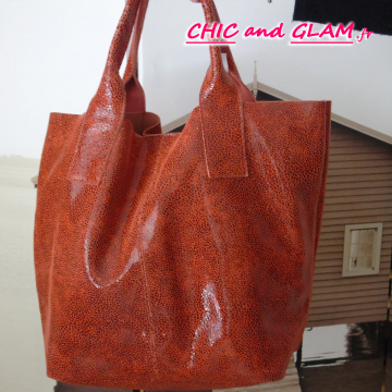 Sac shopping cuir grand modele