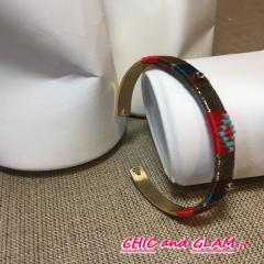 Bracelet adj jonc motif ethnique décor perles ZAG