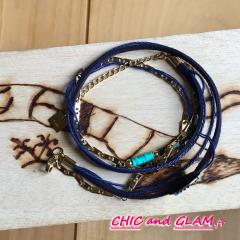 Bracelet adj ethnique multi rgs ton turquoise ZAG
