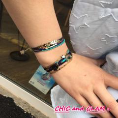 Bracelet multi  rangs perles turquoise ZAG