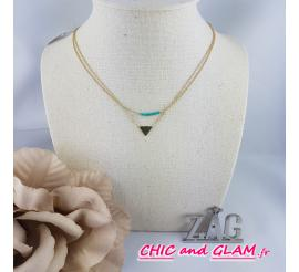 Collier adj 2 rgs chaines triangle perles ZAG