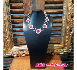 Collier met argt 5 ronds emaux rouge Dolce Vita