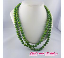 Sautoir perles ton vert