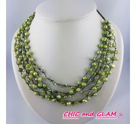 Collier 6 rgs perles et cristal
