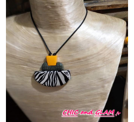 Collier cordon zebre orange Fanny Fouks
