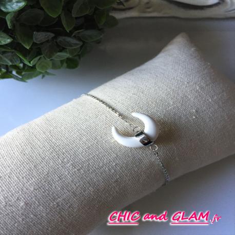 Bracelet a/adj chaine corne ZAG