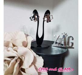Boucle d'oreille acier arabesque strass trefle ZAG