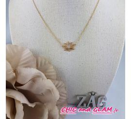 Collier fleur de lotus acier doré jaune Zag