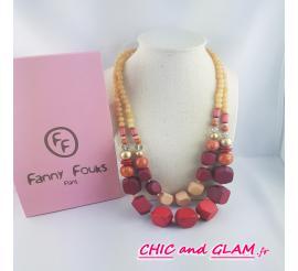 Collier 2 rangs de cubes ton violet et rouge Fanny Fouks