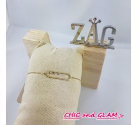 Bracelet adj cartouche 3 strass ZAG