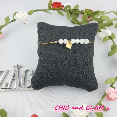 Bracelet met doré chaine perles ZAG