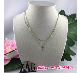 Collier adj 2 rgs perles et croix ZAG