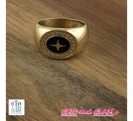 Chevalière motif noir/croix ZAG