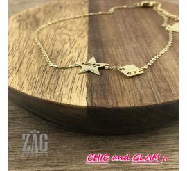 Bracelet adj/a etoile et carré ZAG