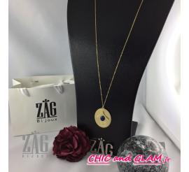 Collier a/adj médaille pierre ZAG