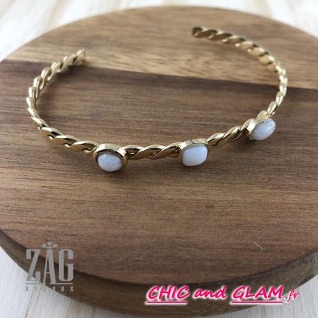 Bracelet jonc pierre semi precieuse Zag