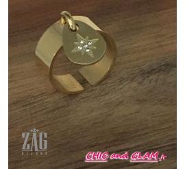 Bague adj anneaux croix ZAG
