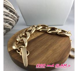 Bracelet chaine métal doré brillant