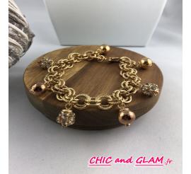 Bracelet chaine métal doré brillant boule et strass