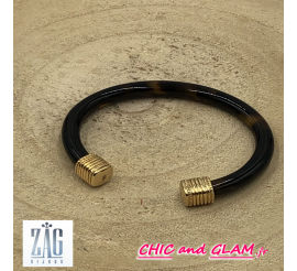 Bracelet jonc acétate serti doré Zag