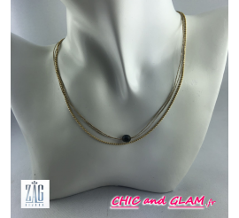 Collier chaines fils perle noire Zag