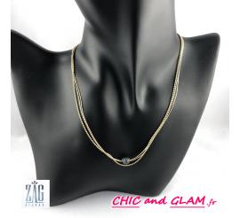 Collier chaines fils et perle grise Zag