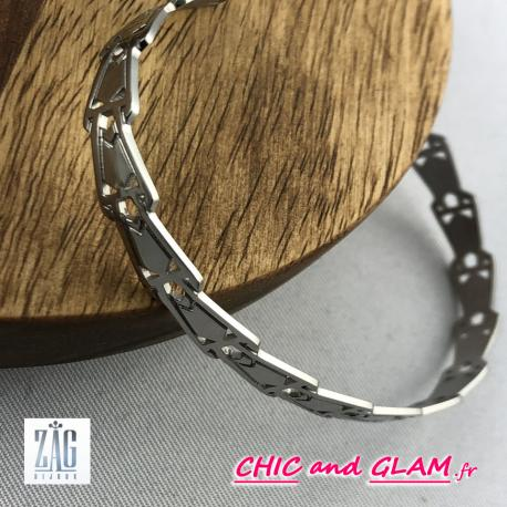 Bracelet jonc acier sculpté Zag