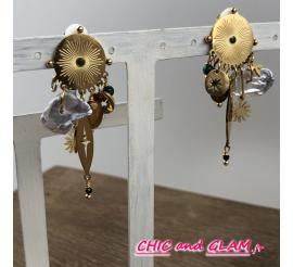 B.O clip puce dorée striée pampilles