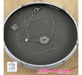 Bracelet acier médaille rose des vents Zag