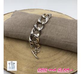 Bracelet chaine métal argent' brillant