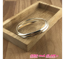 Trio bracelets dia 70 mm métal argenté