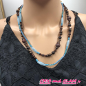 Sautoir perles turquoises et marron