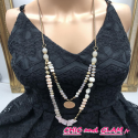 Sautoir perles et pierres 2rgs