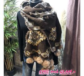 Echarpe laine et coton décor sequins  ton marron doré