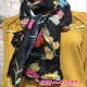 Echarpe coton imprimé fleurs ton rouge/fuchsia/jaune