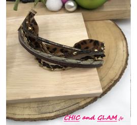 Bracelet manchette tissu perles cuir marron/leopard