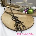 Sautoir perles et pierres ethnique pompon