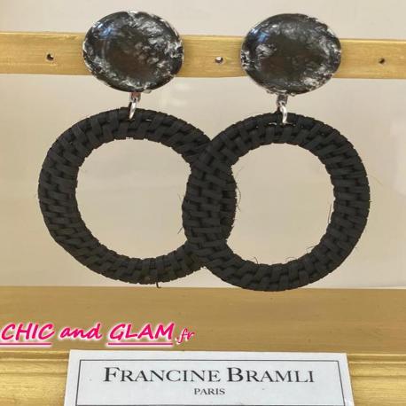 B.O  grd créoles rafia noir  puce Francine Bramli